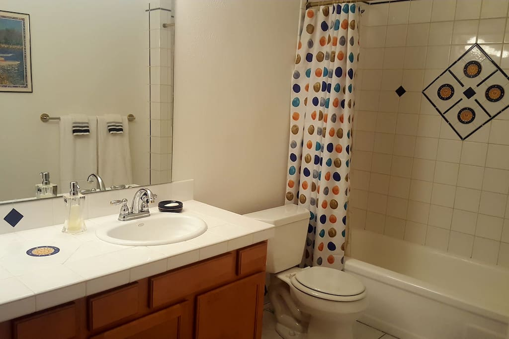 In-suite private bathroom. Two sinks. Full bath and shower.