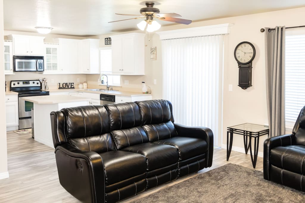 Shared living room and open kitchen-guests are welcome to spend time here