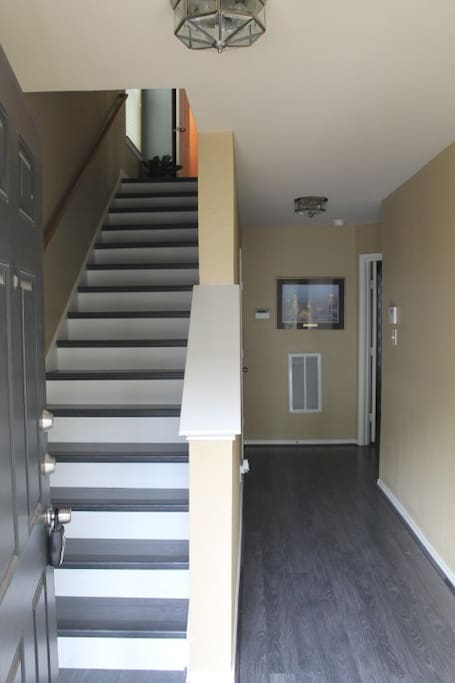 Laminate and tile flooring throughout.