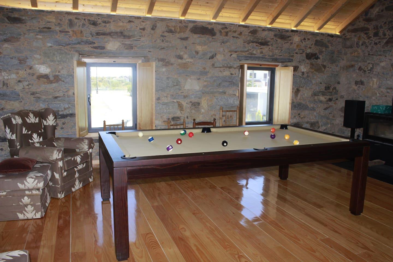 sala principal com salamandra e snooker
