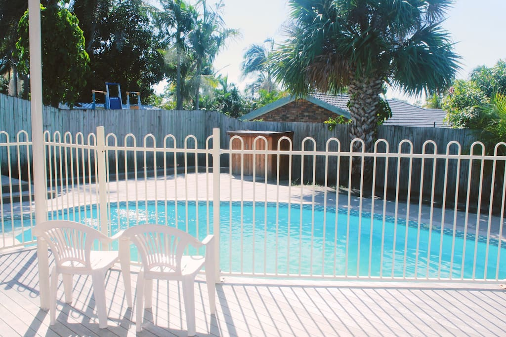 Back Yard Swimming Pool and Deck for Entertainment