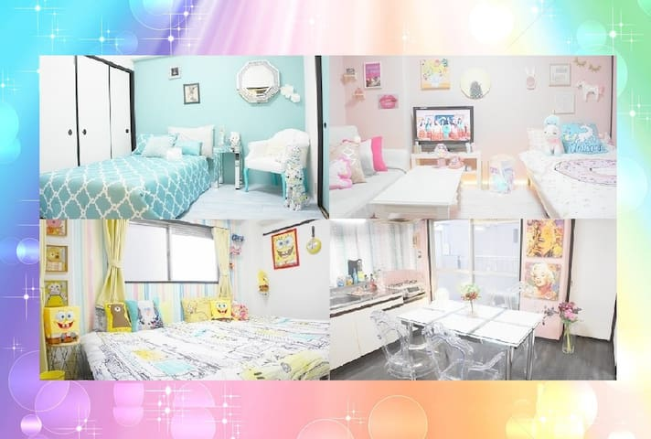 ❤Luxury Colorful Room❤/Osaka Namba Sta~5min!