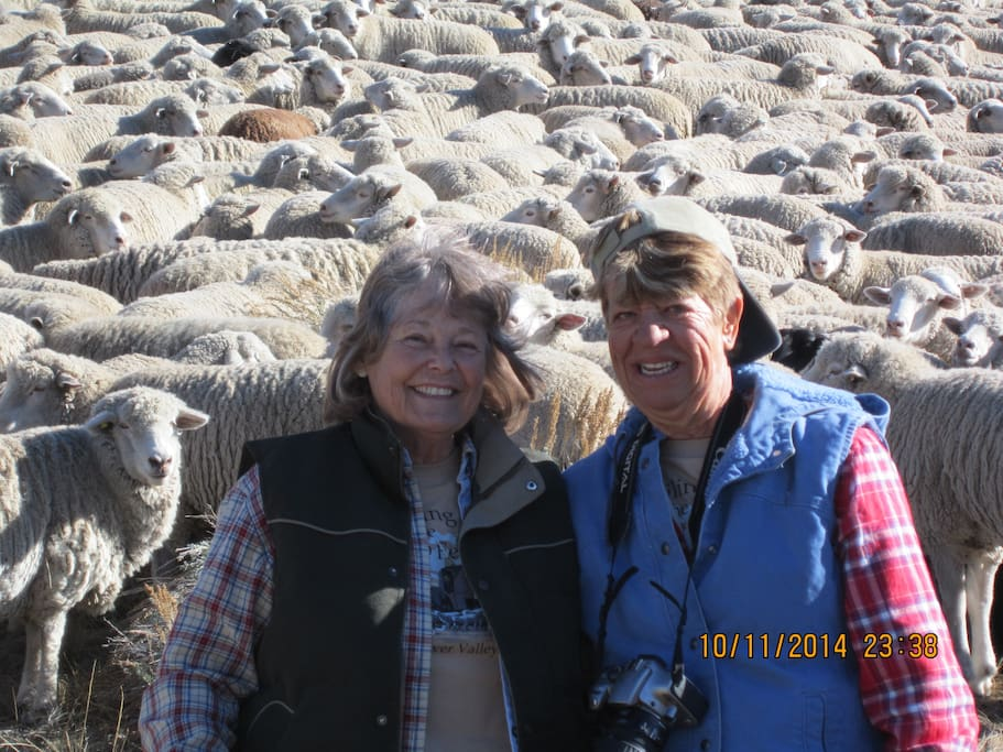 Judi and a guest at the neighbors ranch