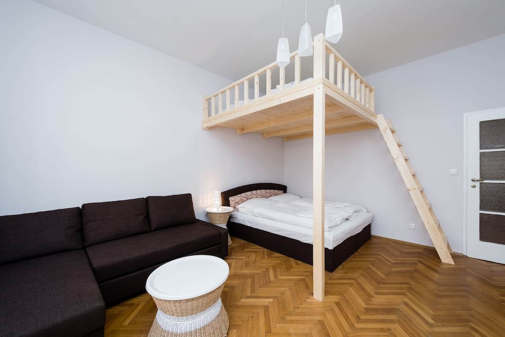 1 Bedroom: with 2 king-size bed for four person and foldout sofa for two person.