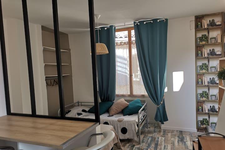 T1 meublé avec toit terrasse aménagé privatif