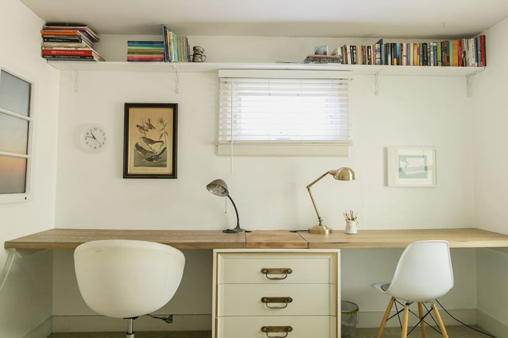 Two desks and use of the top drawer of the dresser.