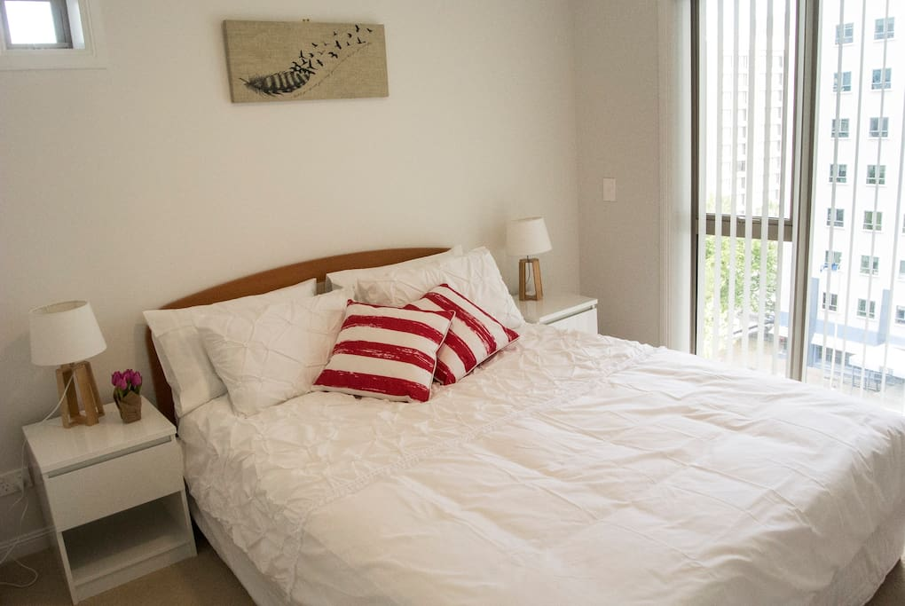 Bedding in bedroom with amazing views