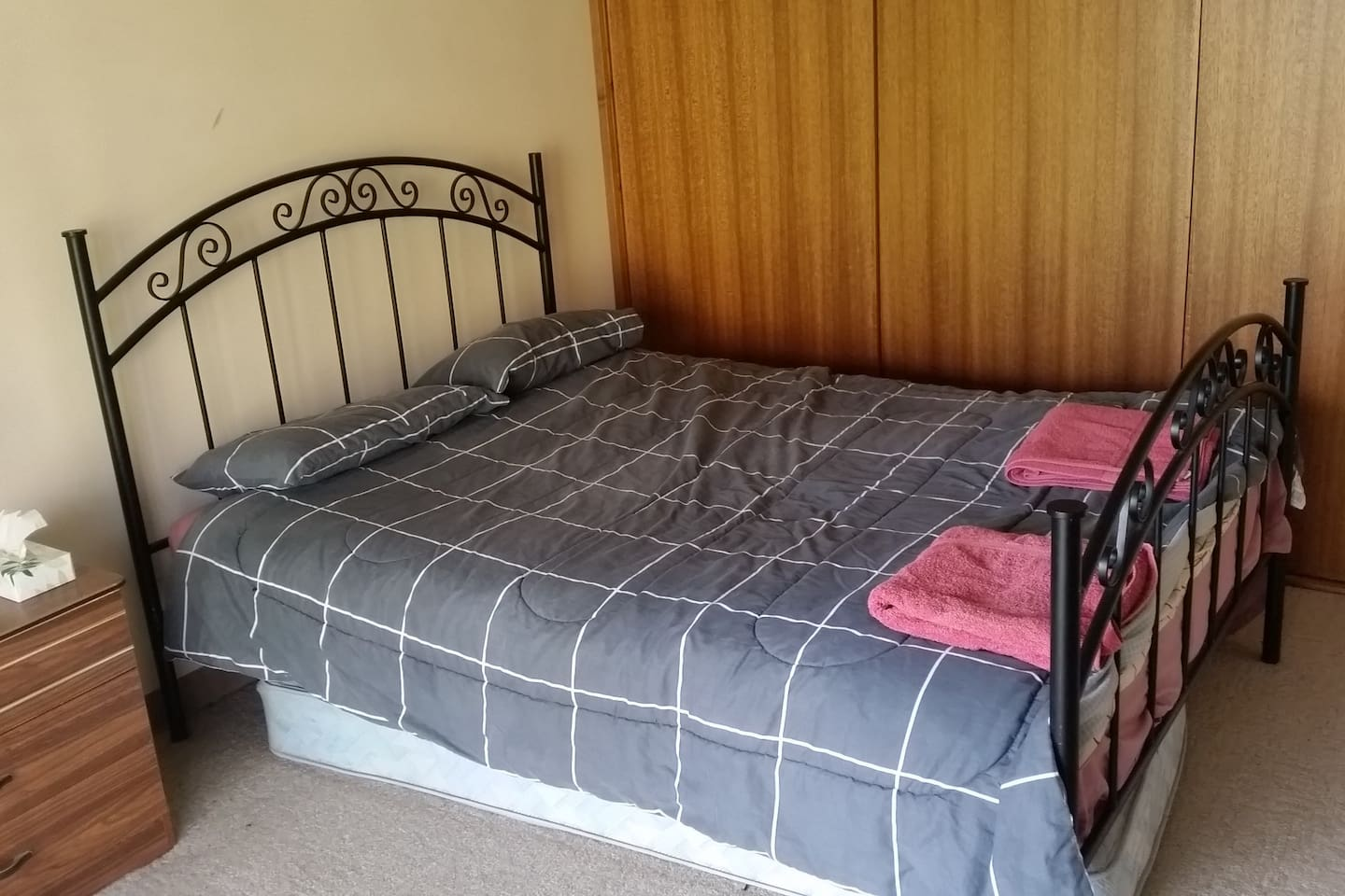 Comfortable queen size bed with electric blanket and own tv