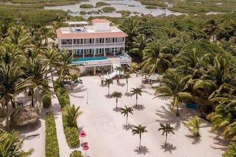 Villa Aurora, a private luxury villa with private beach and dock. 5.5 miles north of San Pedro, Belize