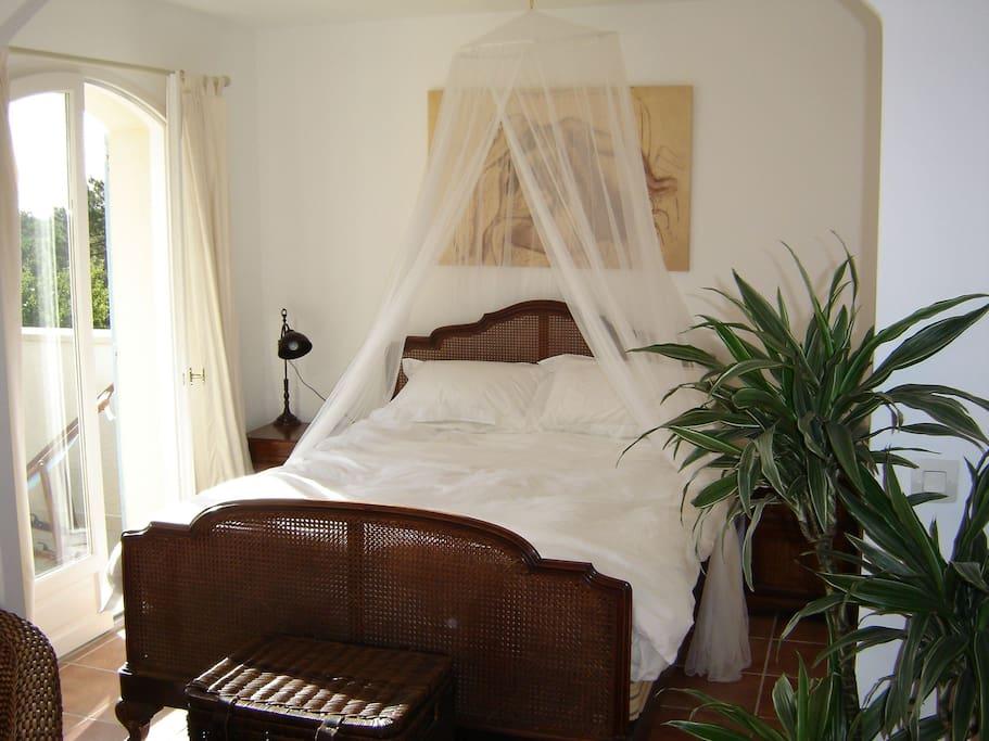 Master bedroom victorian rattan bed.