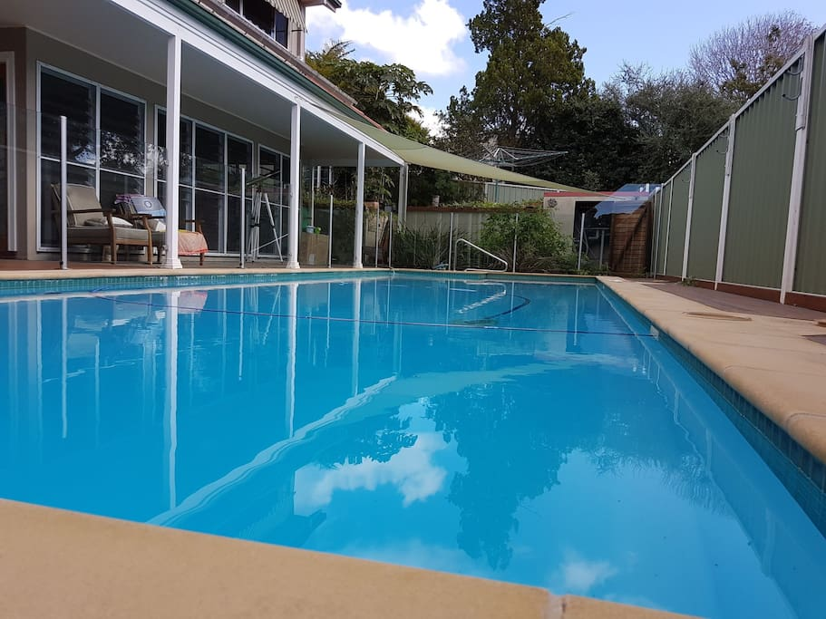 Shared saltwater pool; not heated