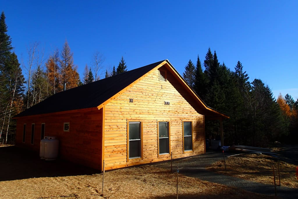 Our new bunkhouse sleeps 16 in a dorm-style setting in a beautiful remote woodland.