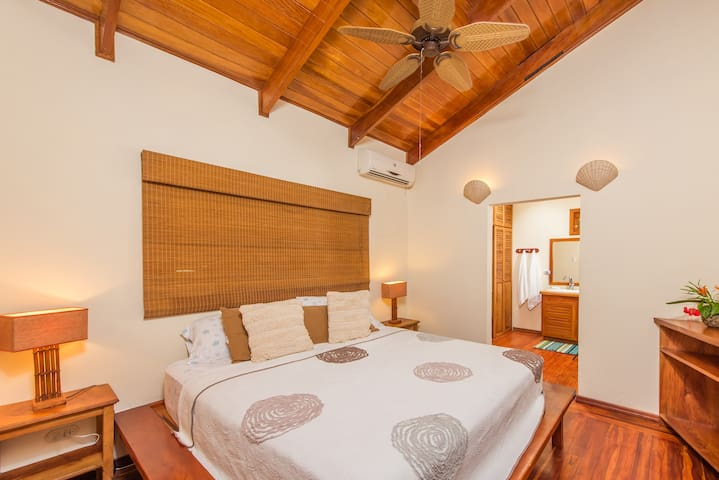 Master bedroom featuring very comfortable king bed, ensuite bathroom with full shower, toilet area & large closet. A/C with temperature control.