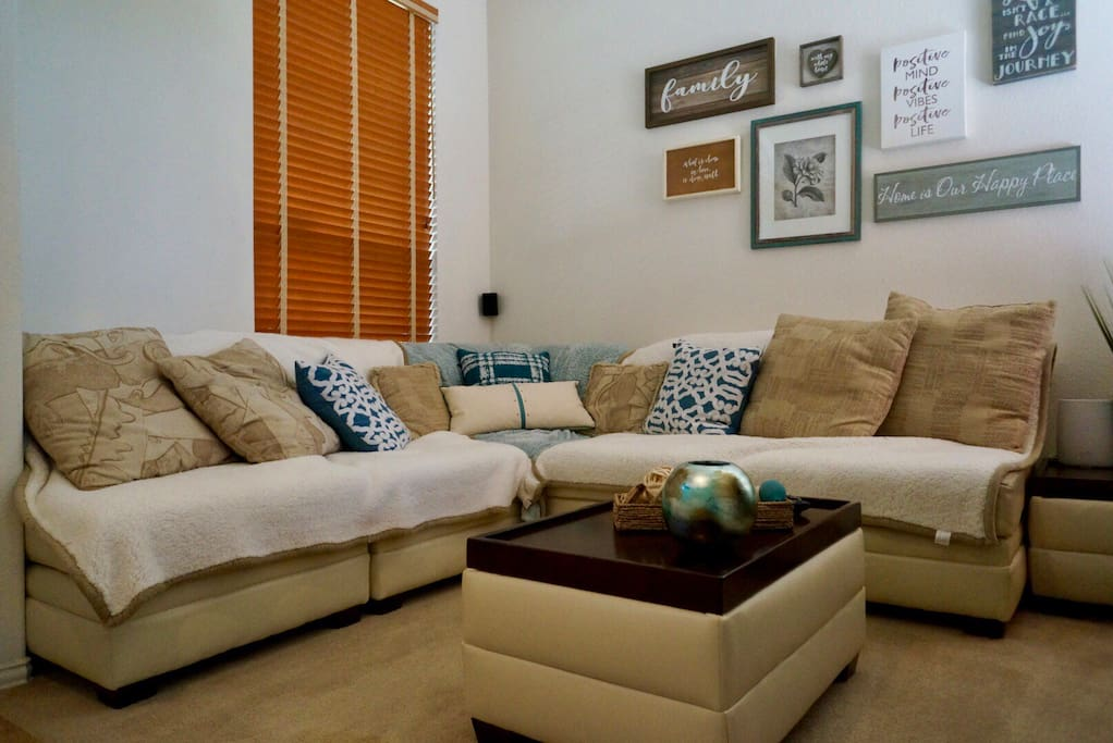 Guest Private Living Room has Cable, Netflix, BlueRay DVD player and is equipped  with  a Surround Sound  4k Smart TV.