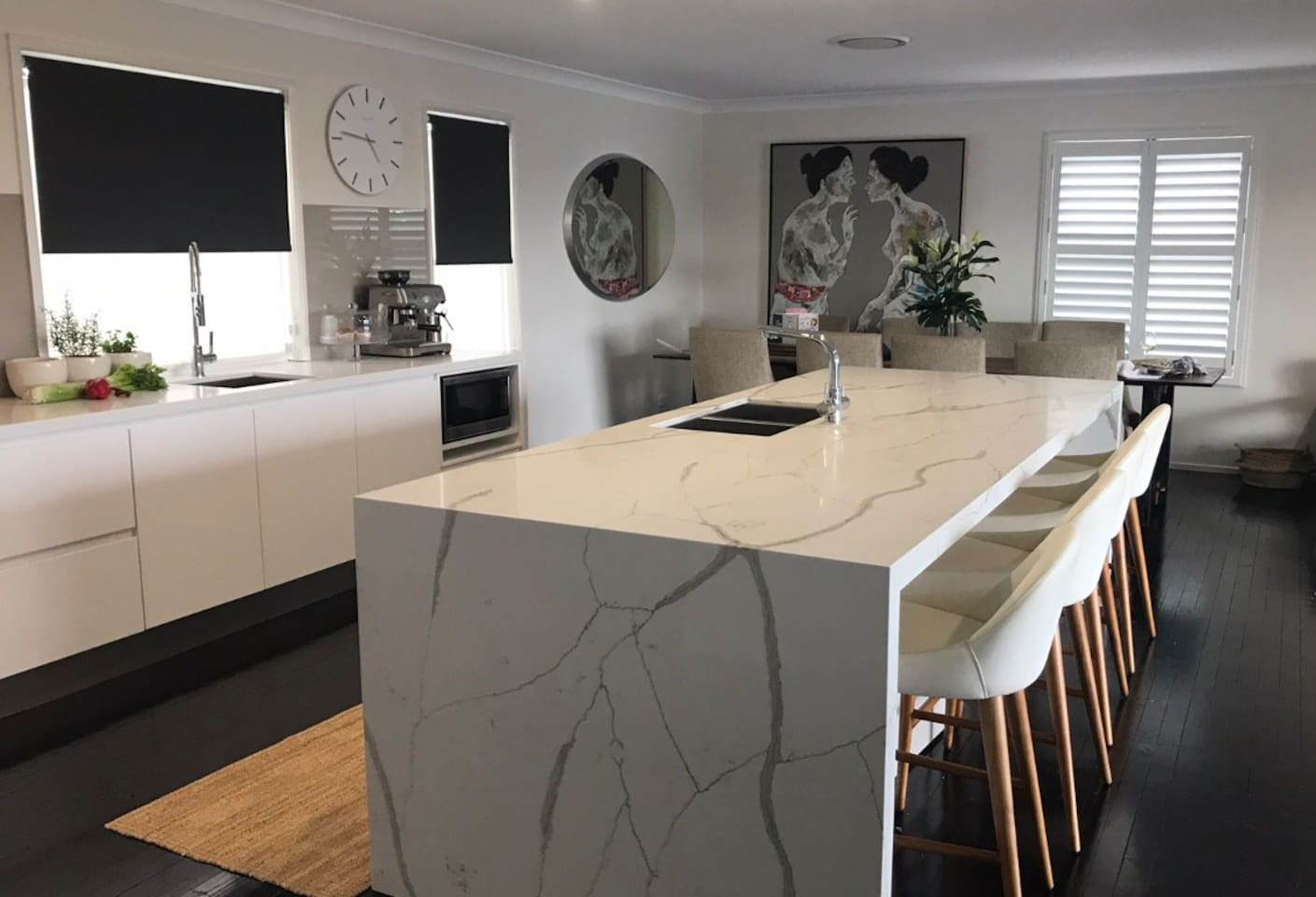 New Designer Kitchen with oversized marble Island and European Appliances