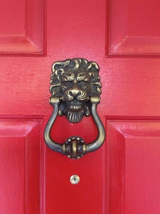 Front Victorian Lion Door-Knocker