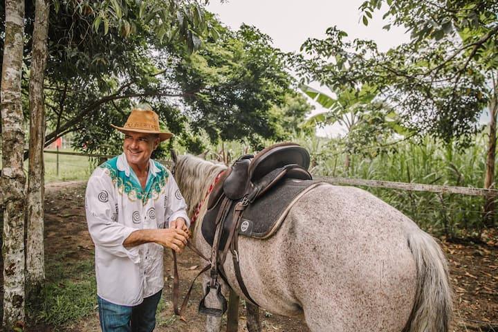Preparando os cavalos e conversando