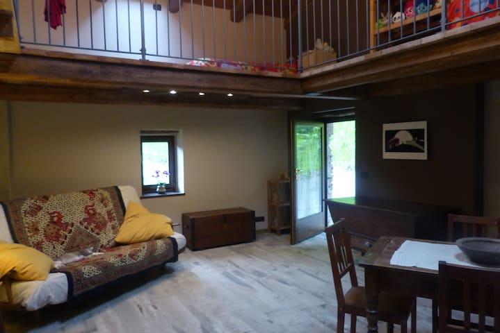 La camera è spaziosa e luminosa,  dalla scala si accede al soppalco con due letti singoli, e c'è spazio per aggiungere  ancora un lettino
