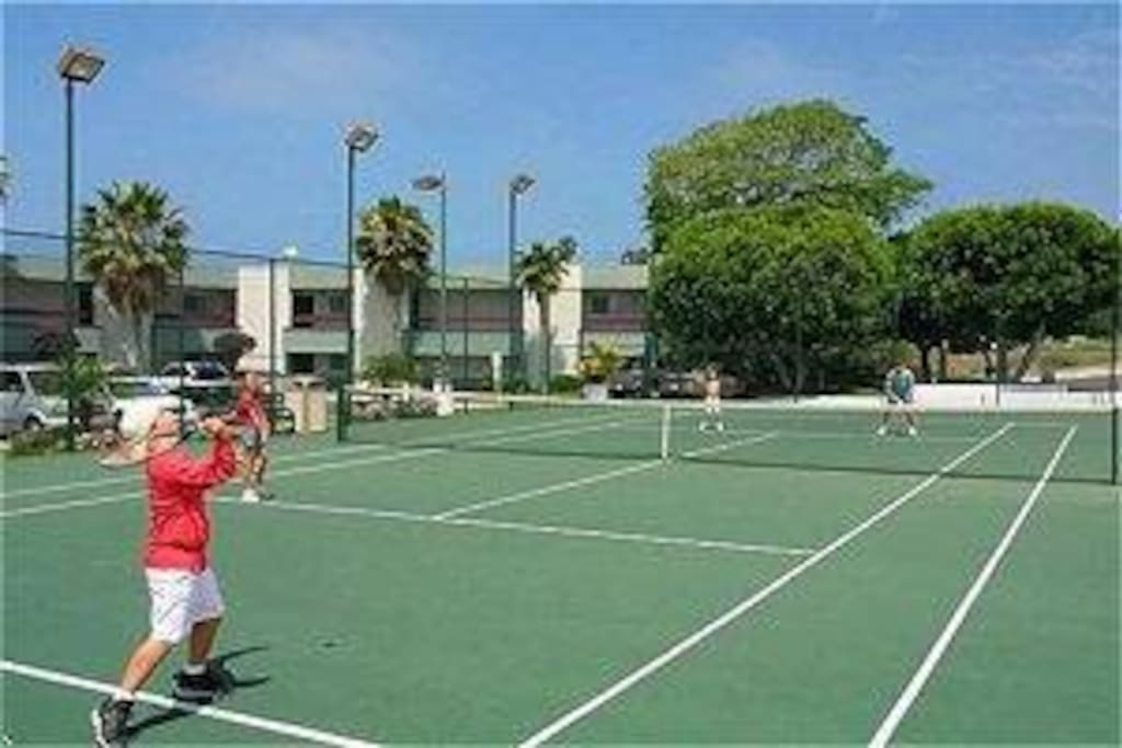 Sport Court with Basketball, Volleyball, and Badminton 24-hour front desk Weight Room*, Saunas*, Outdoor Shower Lighted tennis court & Children's playground area Charcoal Barbeque grills (bring own supplies) Pool Tables*, Ping-Pong, Foosball, and Air Hockey