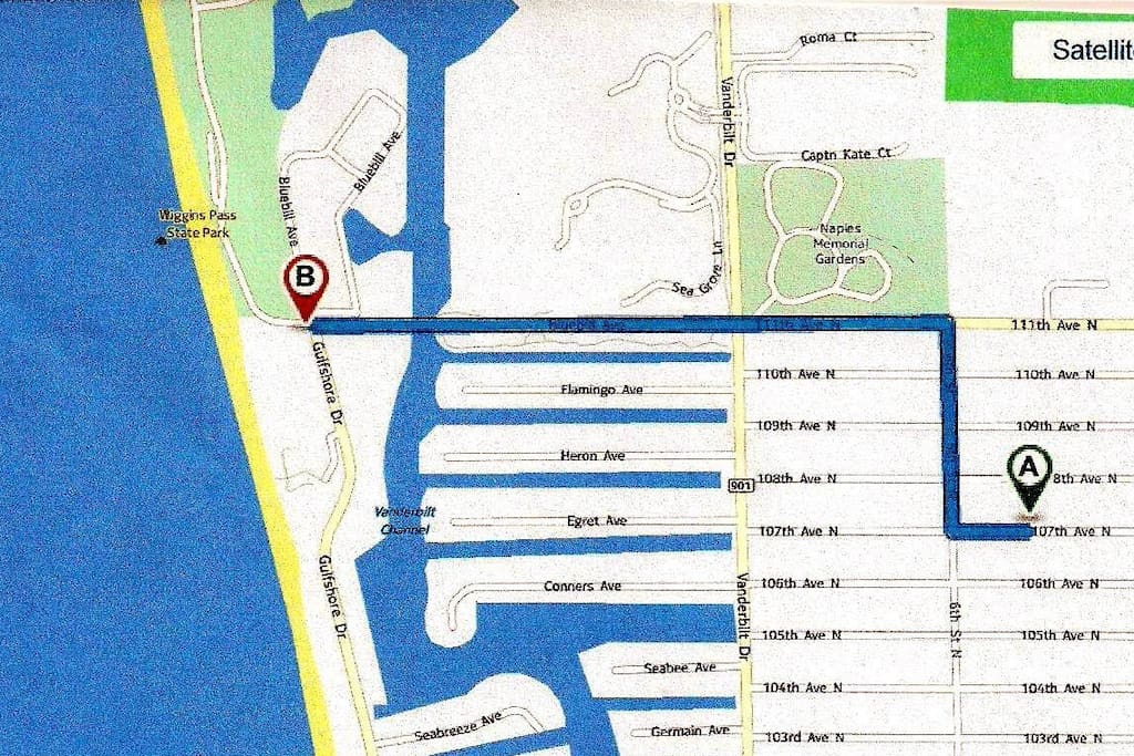 Point A = Vacation Home, Point B = Free Beach Access Point, 5 min. bike ride