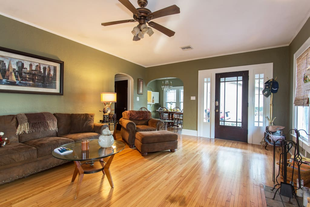 Living room with original hardwood floors