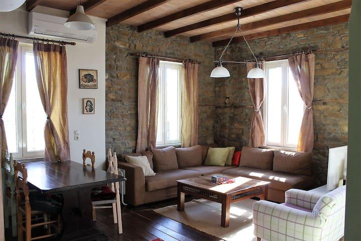 Sardes, Limnos. Stone House 90m2, 4000m2 yard.