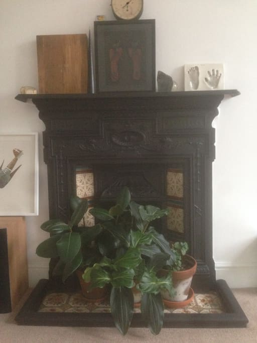 Original Victorian fireplace in the lounge.
