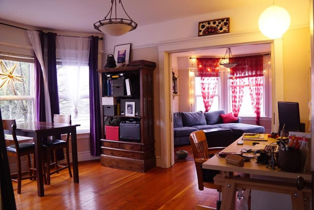 The dining room doubles as an office where you can work and/or eat!  (or like me, do both at the same time!)