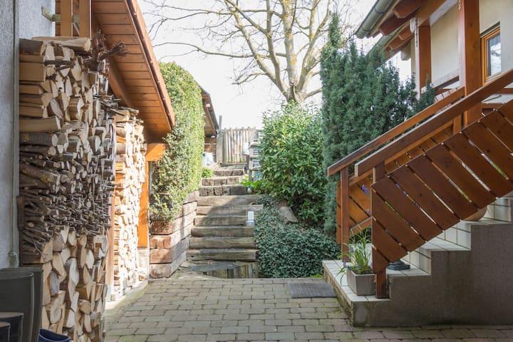 Zugang zum Appartement .  Die Treppe führt zwischen den beiden sichtbaren Treppen in die Souterain Wohnung