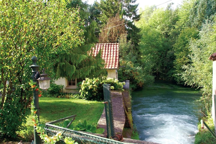 Nice holiday home on a private island in green, cultural area near Le Ponchel