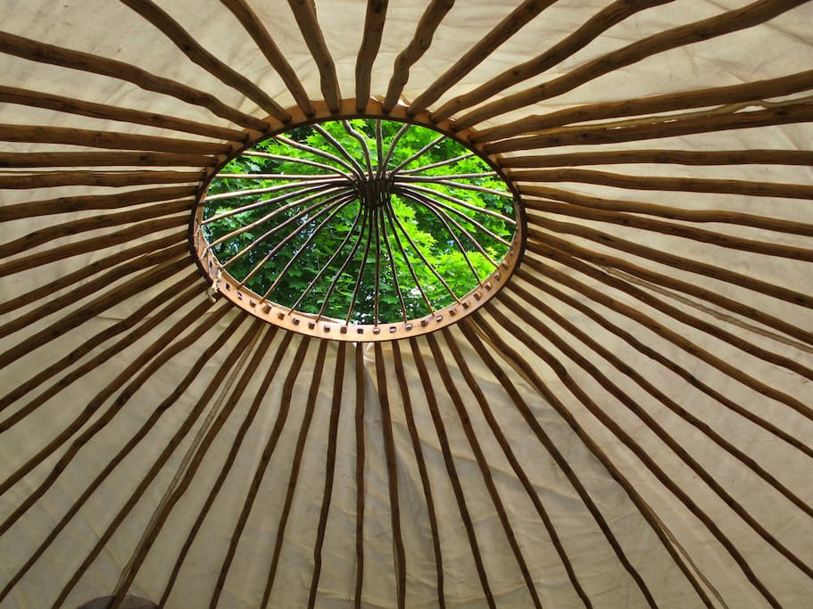 Roof can be opened during the day to keep the yurt cool and to enjoy the sky