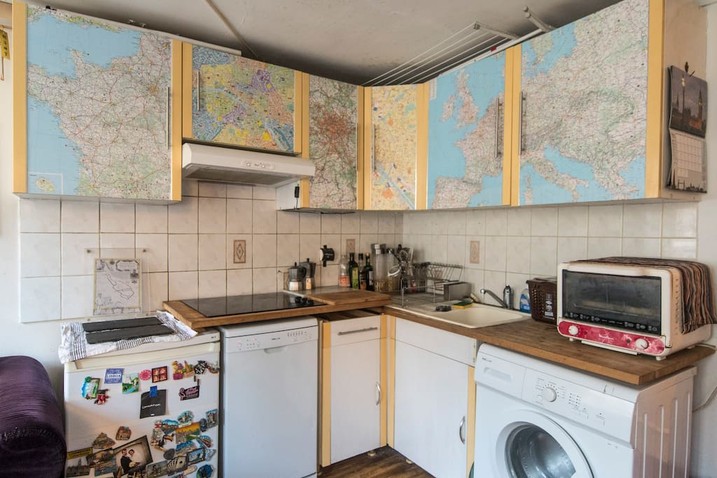 Fully stocked kitchen, so feel free to make the most of the market and cook at home.