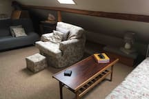 3 seater sofa , 2 armchairs & coffee table , footstool & space