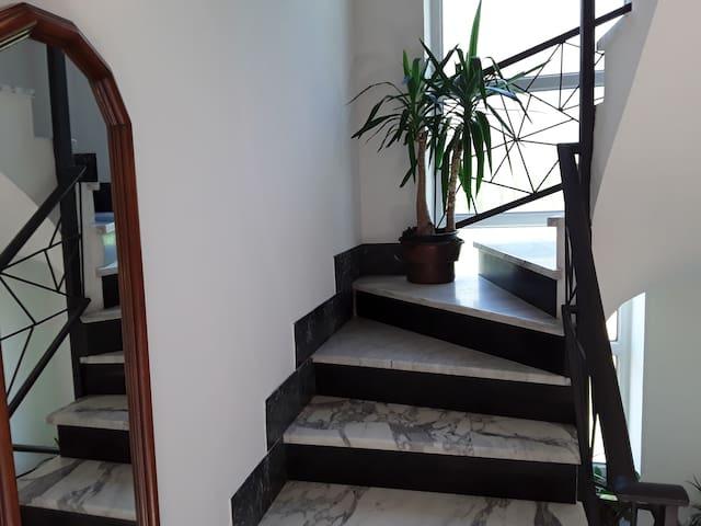 la scalinata in marmo bianco di Carrara