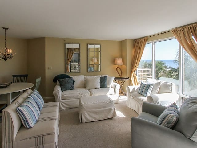 Living Room with Ocean Views at 1201 Villamare