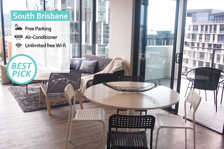 KOZYGURU | South Brisbane | City View | 2 Bed APT+ FREE Parking | SODA