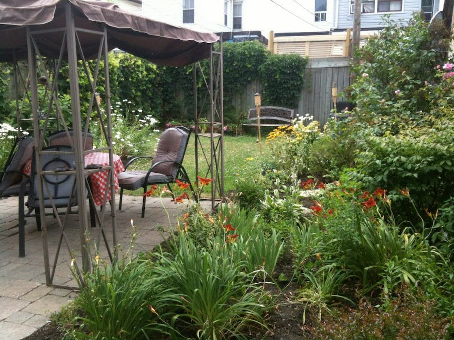 Enter from lush backyard with sitting area, BBQ and green life