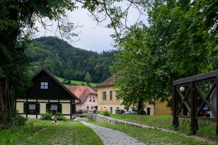 Hiška ob potoku