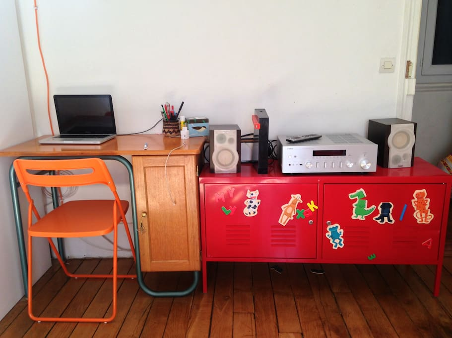 A desk for work or browse the net and cool stereo.