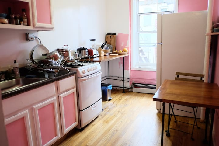Moved recently.. yes, the kitchen is still pink!