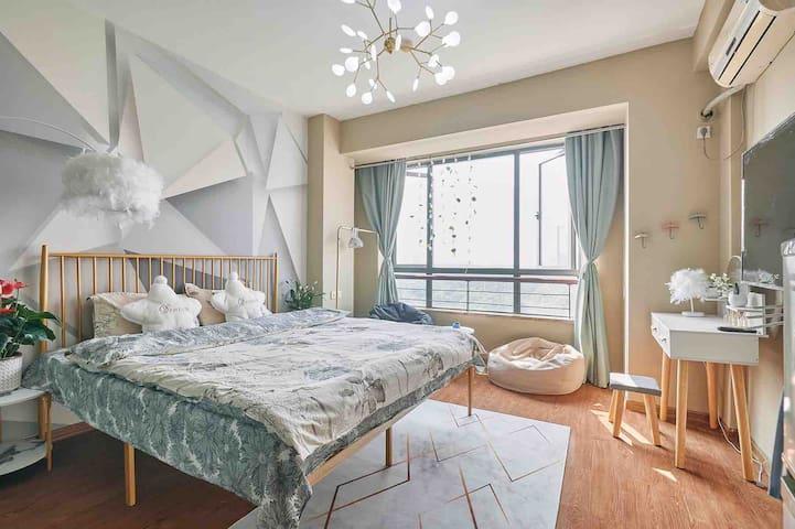 【简.爱】喜上眉梢1.8米大床宁波大学宁波工程学院ins风可做饭公寓