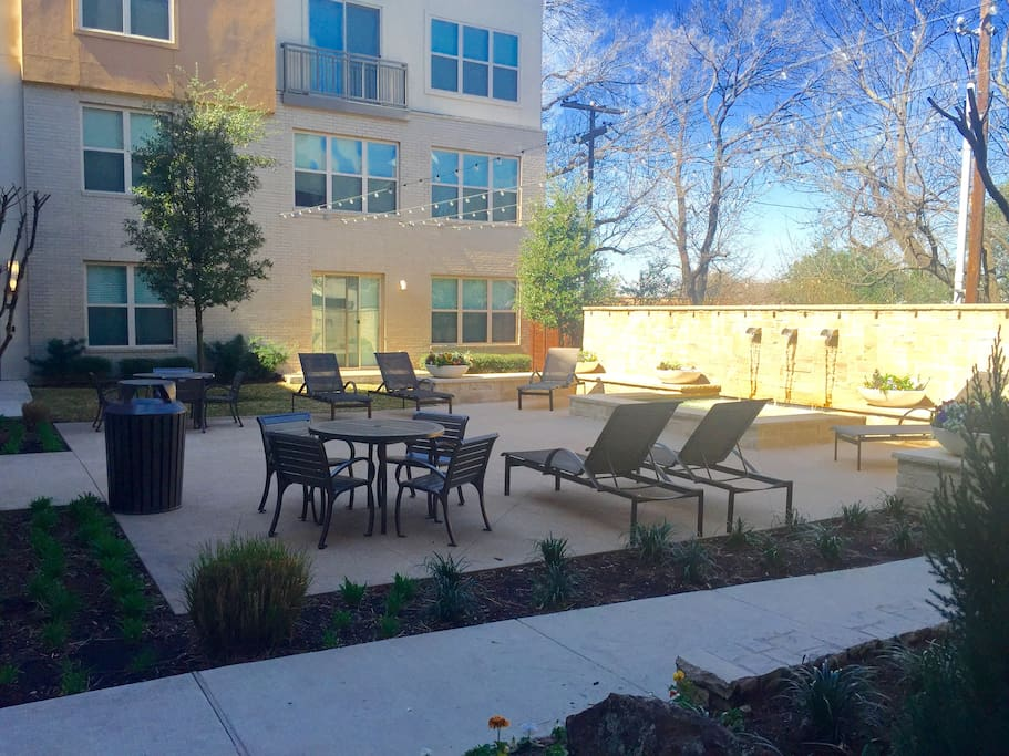 Multiple courtyards with grills and pool available to you (along with all apartment complex amenities, such as a business center and gym).