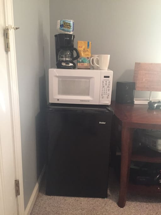 The room comes with mini fridge & freezer w ice tray, microwave, coffee maker and complementary coffee for your enjoyment.