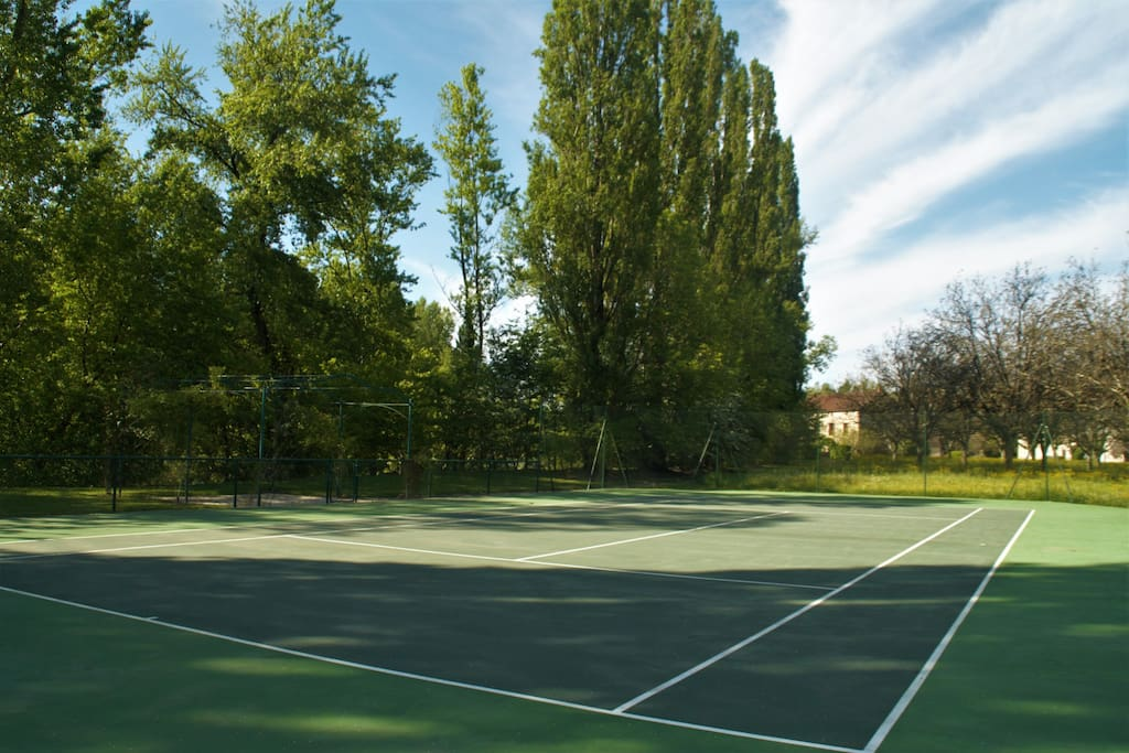 Privet tennis court by the river