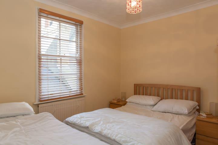 New Oak Double and New Oak Single beds/mattress in Back bedroom...