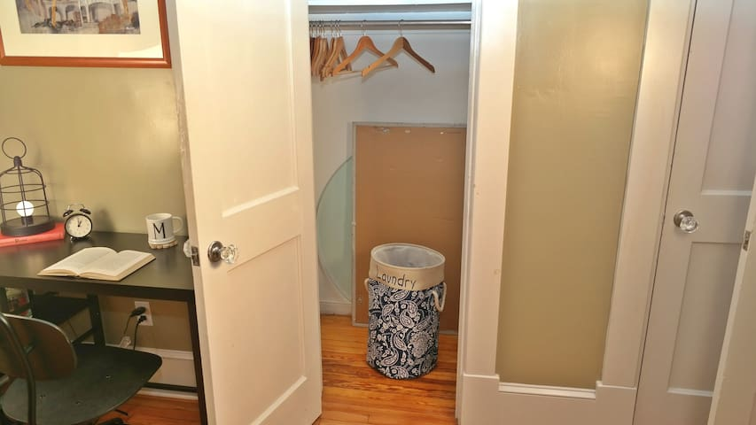 The Queen bedroom offers a closet for your nicer clothes and a desk for working. We usually rent this as a private room on Airbnb and have had amazing reviews. See my profile for that listing. For Super Bowl, we are renting the whole home.