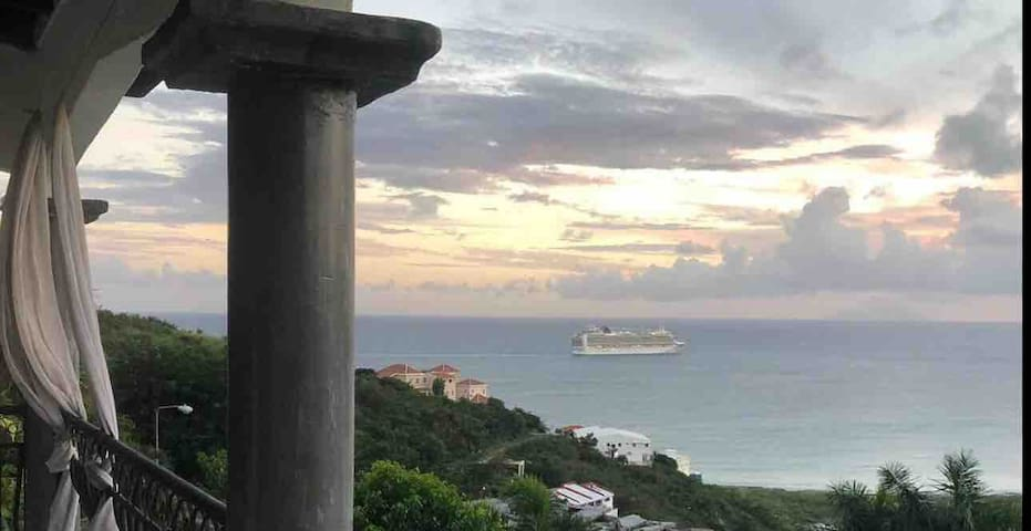 Sunset and time to wave to cruise ships when they are on their way back