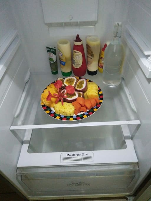 Fruit in the fridge when you arrive :-)