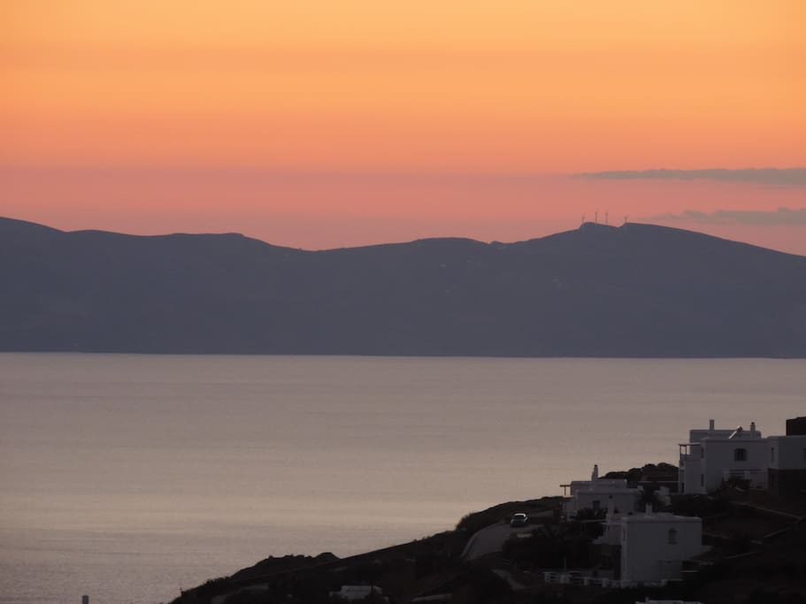 Syros Island as the sun sets