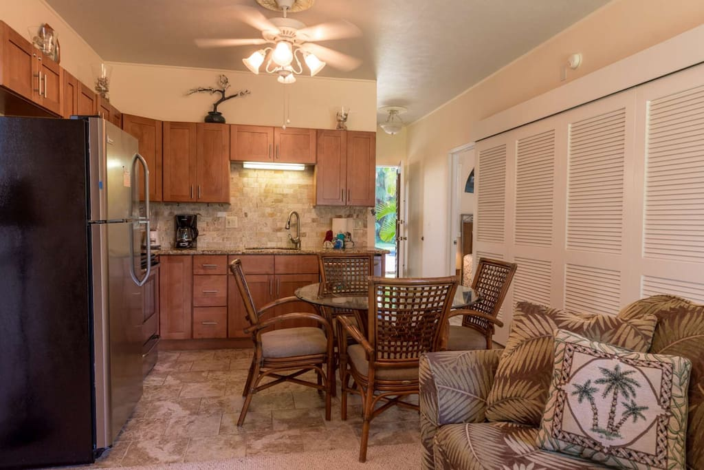 Completed remodeled kitchen with dining seating for four.